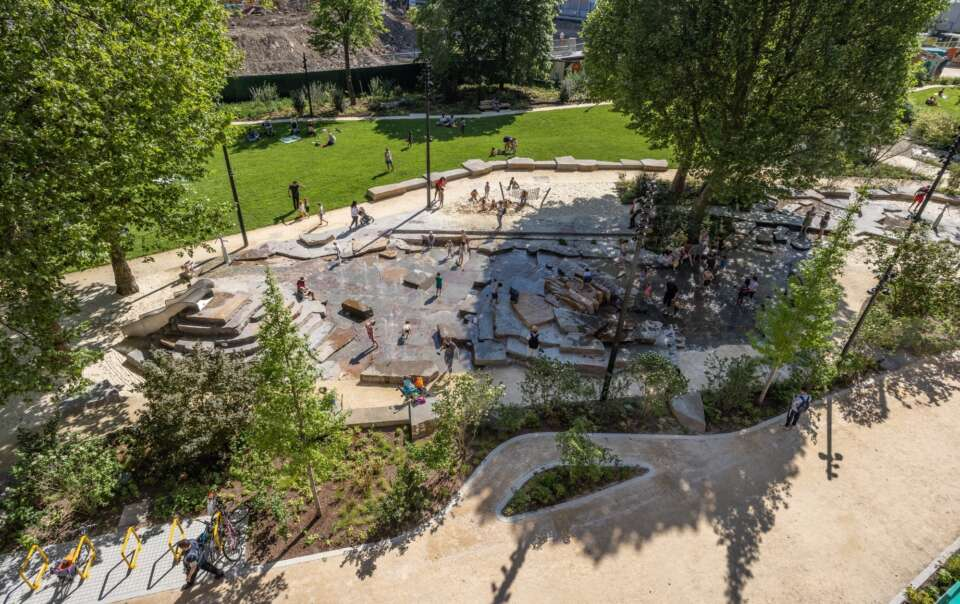 A spectacular new rock and watery landscape unveiled in Elephant Park