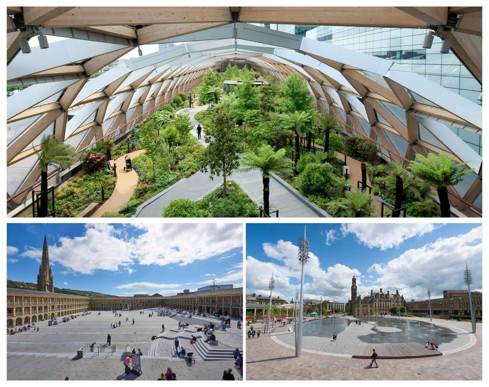 The Piece Hall, Crossrail Place Roof Garden and Bradford City Park among top five best urban sun spots